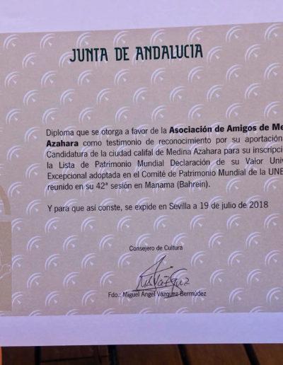 Diploma a Amigos de Medina Azahara por su apoyo a la candidatura a Patrimonio de la Humanidad